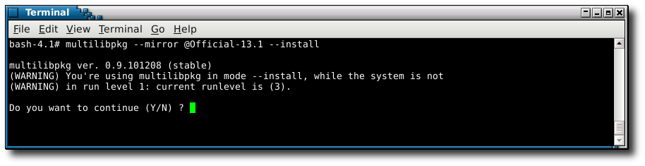 using --install while system is not in runlevel 1